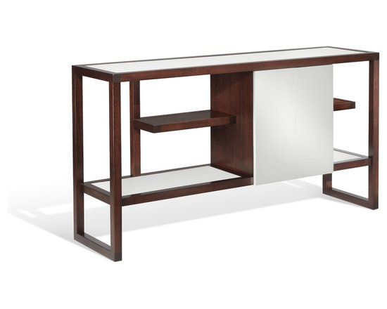 Noa Console - Art | Harrison Collection - This console features staggered open shelving for display as well as concealed storage behind the offset doors. Handcrafted and shown using richly stained mahogany with lacquered white doors & shelves. Available in several finish options.