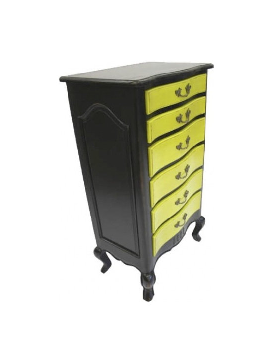 Chichi Furniture Exclusives. - Classic style shabby chic chest of drawers, with a modern twist. This 6 Drawer Tallboy becomes the talking point of any room. Finished in Chichi's classic black & green colours, this is a fantastic statement piece. OH LA LA!!