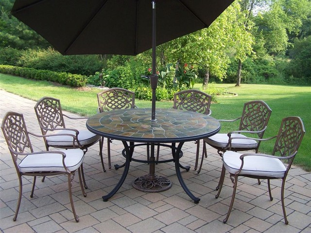Stone Art 9 Pc Patio Dining Set Contemporary Patio Furniture And Outdoor