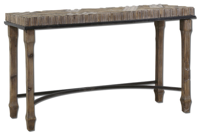 Rustic Weathered Wood Tehama Console Table rustic-console-tables