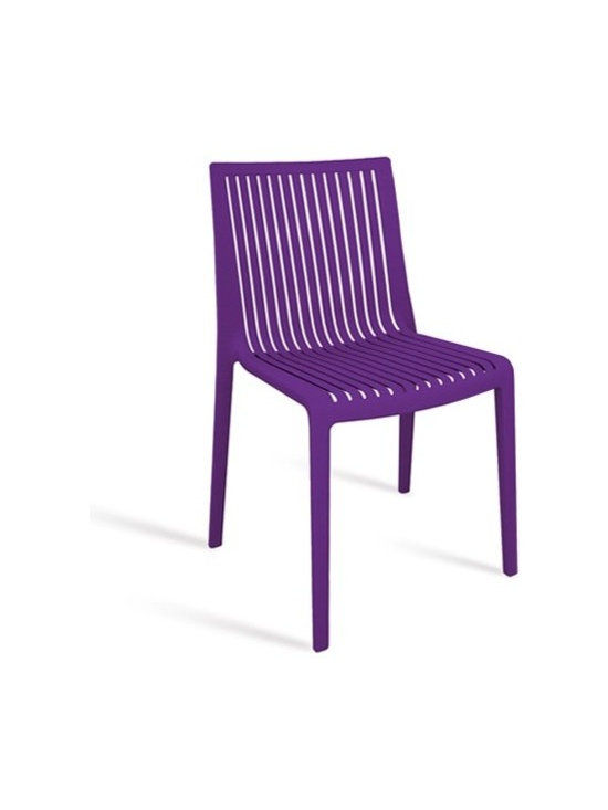 Papatya - Papatya | Cool Chair, Set of 4 - The Cool Chair with its bold color, clean lines, and slatted seat and back, is a chair that lives up to its name. It looks cool, it feels cool, it's basically an all around cool chair. Made of anti UV stabilized polypropylene, Cool Chair is suitable for indoor and outdoor use and the set is conveniently stackable, too. Sold in sets of 4.  Select from Purple, Red, Anthracite and White.