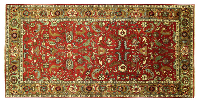 New Hand Knotted 8'x16' Antiqued Oriental Heriz Serapi Red/Brown Wool Rug - H324 traditional-area-rugs