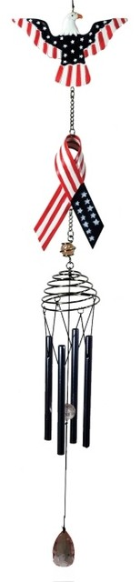 25 Inch Poly Resin Patriotic U.S. Flag Ribbon Wind Chime, Eagle traditional-outdoor-decor