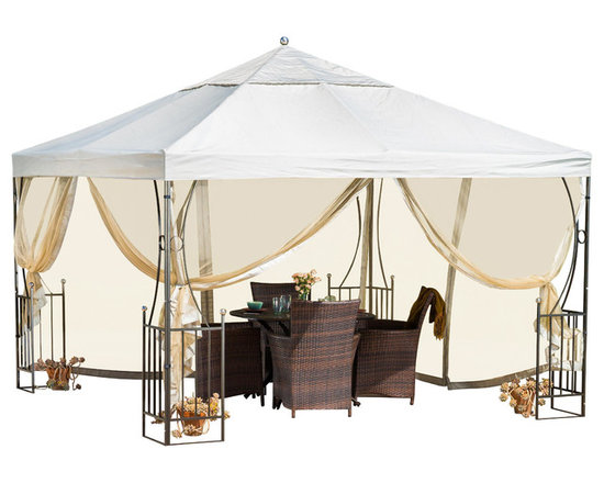 Great Deal Furniture - Doheny Outdoor Steel Gazebo Canopy w/ Net Drapery - The Doheny gazebo offers a fresh and delicate touch to any outdoor space. The polyester covering is a perfect shade solution for any sunny day. The side detailing of the gazebo's steel frame carries an equestrian feel that is complimented with adjustable netting for ventilation and protection from the elements.  This piece is perfect for setting over outdoor spas, dining/seating areas, or can be used as a focal point in your backyard or garden.