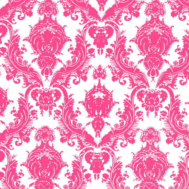 Tempaper Damsel Temporary Wallpaper - White & Fuchsia modern-wallpaper