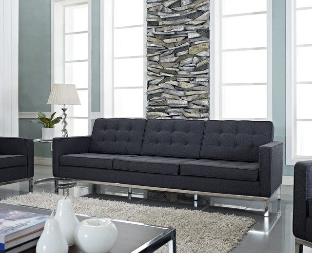 Florence style dark gray wool loft sofa midcentury for Dark grey couch