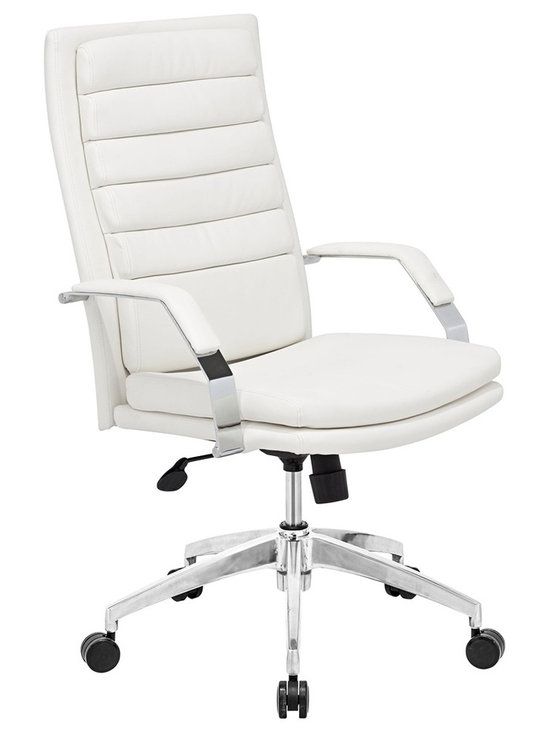"Zuo - Zuo Director Comfort White Office Chair - White faux leather office chair. Wrapped seat and back cushions. Chrome finish solid steel arms with leatherette pads. Height and tilt adjustment. Chrome finish rolling base.  A chic addition to your home from Zuo Modern. 27 1/2"" wide. 27 1/2"" deep. Height adjusts from 44"" - 47 3/4"". Seat is 18"" square. Seat height adjusts from 17 3/4"" - 20 1/2"". Arm height adjusts from 23 3/4"" - 26 3/4"". Some assembly required.  White faux leather office chair.  Wrapped seat and back cushions.  Chrome finish solid steel arms with leatherette pads.  Height and tilt adjustment.  Chrome finish rolling base.  A chic addition to your home from Zuo Modern.  27 1/2"" wide.  27 1/2"" deep.  Height adjusts from 44"" - 47 3/4"".  Seat is 18"" square.  Seat height adjusts from 17 3/4"" - 20 1/2"".  Arm height adjusts from 23 3/4"" - 26 3/4"".  Some assembly required."