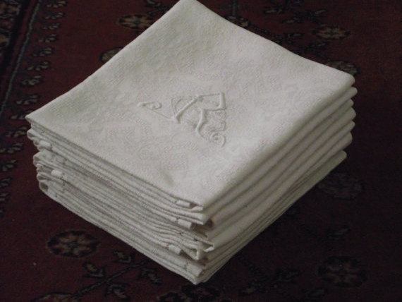 French Linen Damask Napkins with Hand-embroidered Monogram by