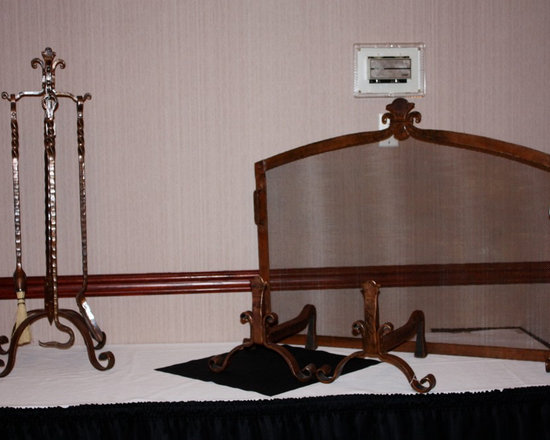 Fireplaces - Custom designed, hand forged, wrought iron fireplace screen and tool set.