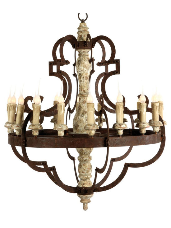 Aidan Gray Nurnberg Chandelier - Add some drama to your space with this 18 light chandelier. Heavy wood center is adorned with dramatic metal lines in a rusted finish.