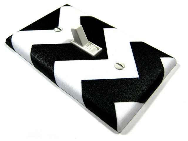 Light Switch Cover, White and Black Chevron by Modern Switch - Contemporary - Switch Plates And ...