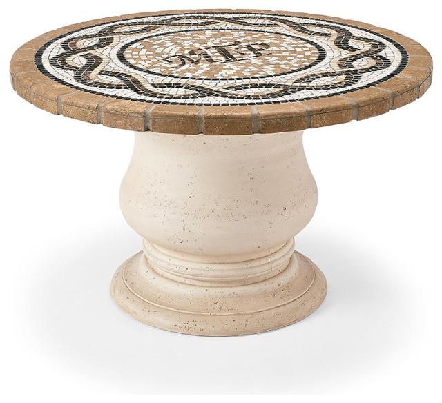 Pedestal faux stone table base round outdoor dining table base