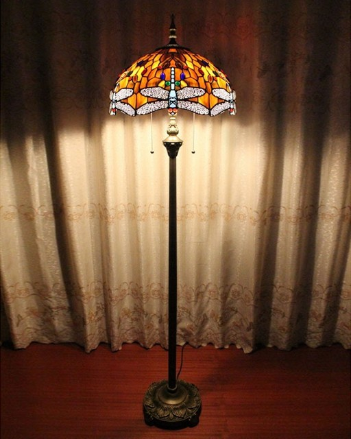 Copper Tiffany Style Butterfly Floor Lamp Traditional Floor Lamps Raleigh By Parrotuncle