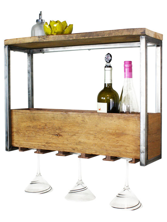 what WE make - Reclaimed Wood Wine Rack - This is one of those things you know you need as soon as you see it. Especially in a smaller space like a loft or apartment, this wine rack (which holds glasses, too!) will quickly become one of your necessities. The fact that it's made from reclaimed wood makes you feel even better about it. Hang it on a wall to save even more space!