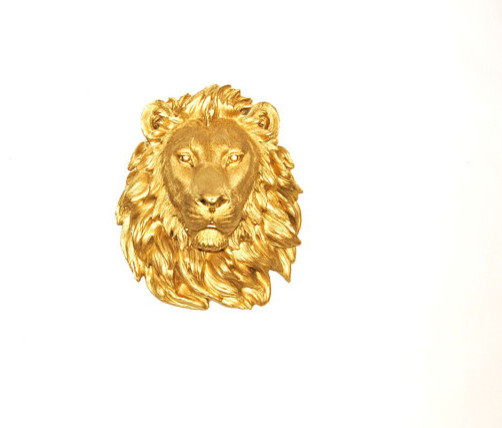Faux Taxidermied The Epson Gold Resin Lion by White Faux Taxidermy eclectic-wall-sculptures