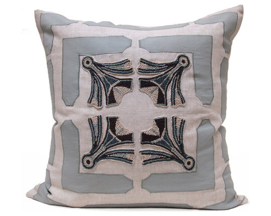 Kathy Kuo Home - Ruskin Blue Natural Square Hand Embroidered Pillow - Hand embroidered pillows in linen and silk are sumptuously oversized and generously filled with down and feathers - tossed on a bed or a gathered on a sofa, create a lasting personal touch.
