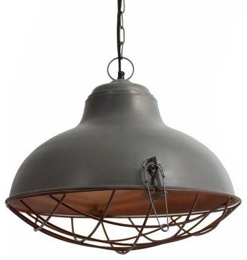 Kalalou NNL2316 Raw Metal Bell Pendant Lamp with Rustic Cage modern-pendant-lighting