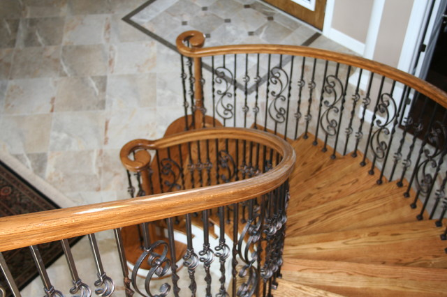 Curved Stair Project. Wolchak Residence. Merritt Island Fl mediterranean-staircase