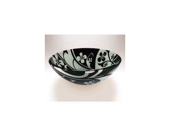 """Asian Style Bathroom - Wells V201 Art Glass 16.5"""" Above the Counter Bathroom Sink, Double Layered Safety Tempered Glass: White on Black"""