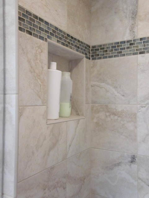 Shower enclosure w/glass accent contemporary bathroom tile