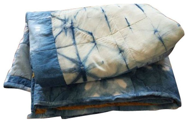 Used Silk and Linen Hand Dyed Organic Indigo Quilt eclectic-quilts-and-quilt-sets