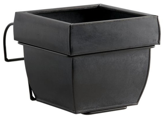 Zinc Square Rail Planter with Rail Hook Set modern-outdoor-pots-and-planters
