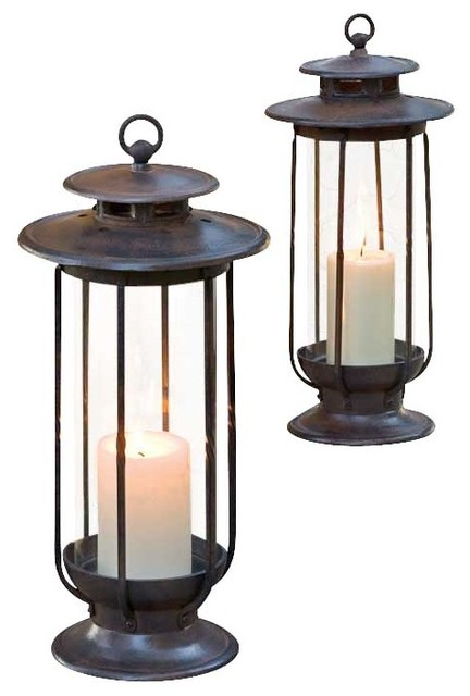 Large and Small Hurricane Lantern Set - traditional - outdoor