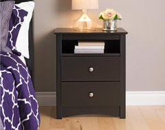 Broadway Black 2-drawer & Open Cubbie Nightstand contemporary-nightstands-and-bedside-tables