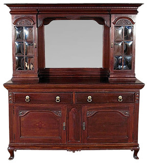 Antique English Solid Mahogany Buffet Sideboard Server w/ Mirror - Victorian - Buffets And ...