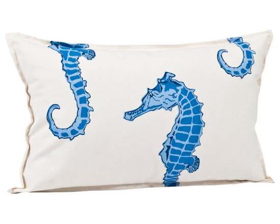 ecoaccents Blue Seahorse Rectangle Cotton Canvas Pillow