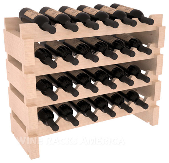 Wooden 24 Wine Bottle Mini Scalloped Kitchen Storage Wine