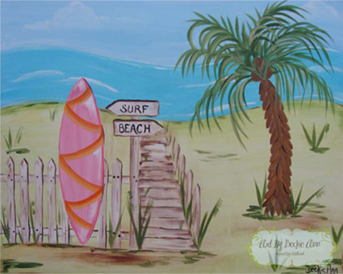 Pink island surf quot surf board quot beach style kids decor seattle by bella rooms