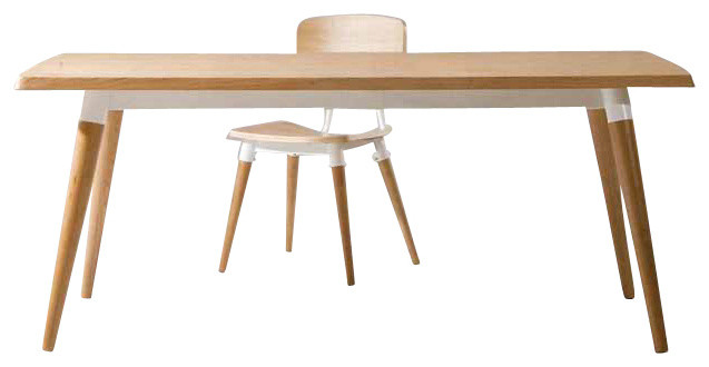 Jin dining table white oak veneer with white base contemporary dining tables by inmod - Oak veneer dining table ...
