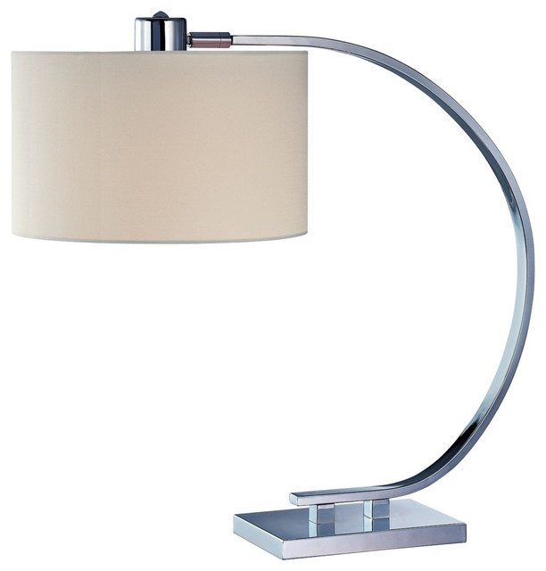 Contemporary Axis Chrome with White Shade Lite Source Desk Lamp ...