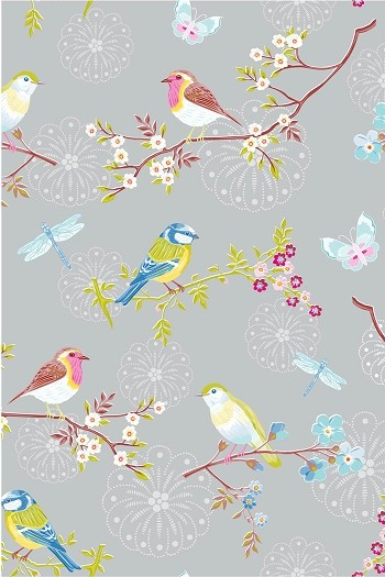 Wallpaper Designs With Birds : Pip early bird grey wallpaper by pipstudio