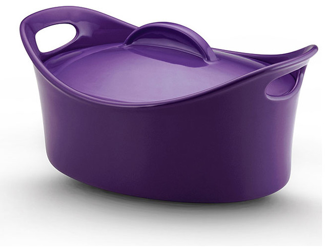 Rachael Ray Stoneware 4.25-quart Covered Oval Casserole 'Casseroval',Purple contemporary-baking-dishes