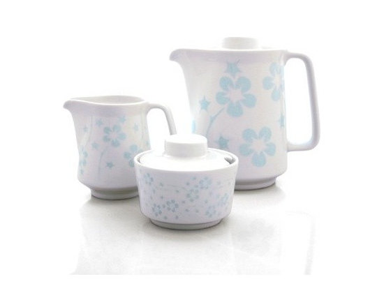 notNeutral Flora Coffee Set - The pattern is a sleeker, quieter version of ourselves. Based on the Flora pattern by notNeutral, don't let the light blue fool you. Look closely at the pattern and find the thorns among the flowers.