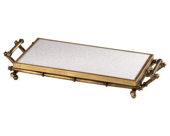 Cyan Design - Bamboo Serving Tray - The Bamboo Serving Tray is at once classic and contemporary.  Featuring a sturdy iron construction with a gold finished rectangular frame and extending handles, this tray features an inset mirror for additional allure. A minimalist design with rich metallic bamboo detail, gives this Hollywood Regency accessory an old school luxurious style. Use it for a serving piece or for displaying choice accessories such as candles or vases.  The Bamboo Serving Tray is a small piece of Old Hollywood glamour.
