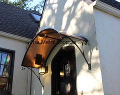 Custom Arched Copper and Iron Window / Door Awning  exterior