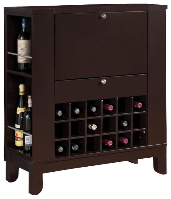 Dark Brown Fold Down Front Shelves Wine Rack Wooden Bar Cabinet Counter Pub Unit - Contemporary ...