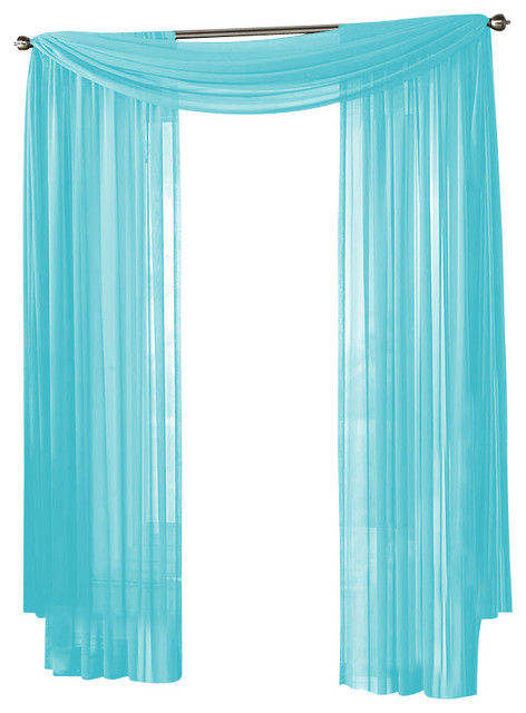 hlc me sheer curtain window aqua blue panel traditional curtains