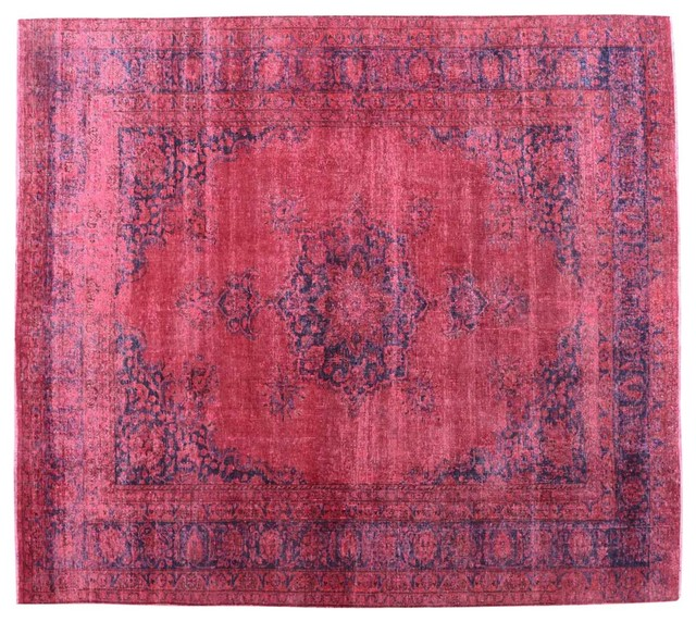 Pink Old Worn Overdyed Persian Mashad