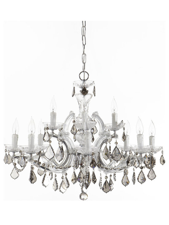 """Horchow - 12-Light Maria Theresa Chandelier - 12-Light Maria Theresa ChandelierDetailsMade of hand-cut crystal and polished chrome.Uses 12 25-watt bulbs.Mounting hardware and ceiling canopy included.Professional installation recommended.29""""Dia. x 26""""T with 72""""L chain. Imported.Boxed weight approximately 30 lbs. Please note that this item may require additional delivery and processing charges."""