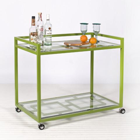 Hampton Bar Cart In Green Modern Outdoor Serving Carts