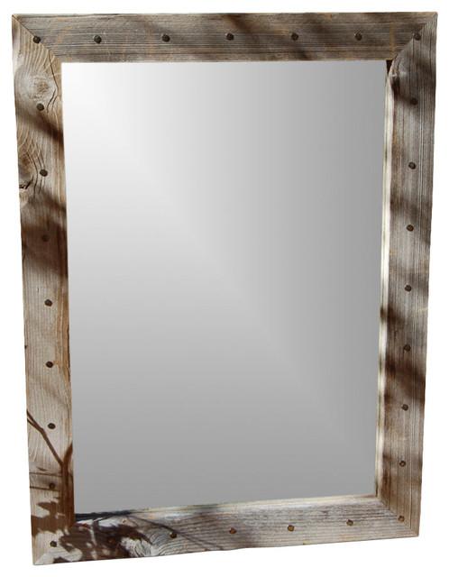 Barn Wood Mirror Rustic Home Decor: Rustic Mirrors Bunkhouse Barn Wood Mirror With Tacks