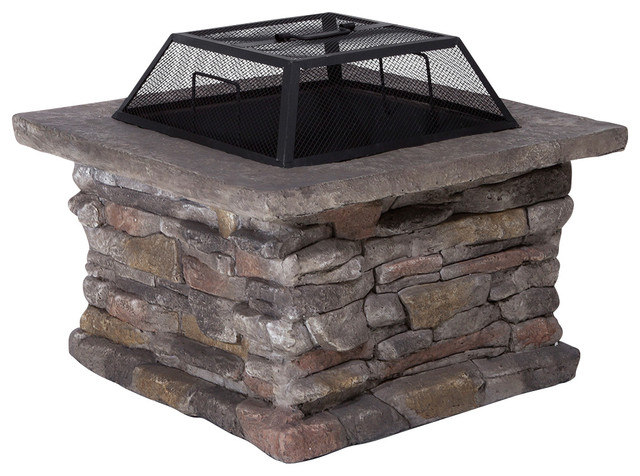 Tundra Square Fire Pit  Rustic  Fire Pits  by Great Deal Furniture