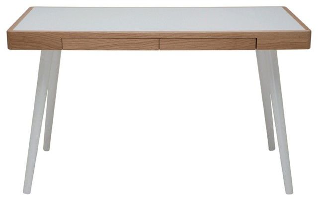 Matt Desk, White Oak/White midcentury-desks