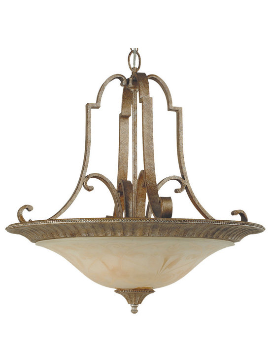 Royce Lighting - Royce Lighting Belcaro Collection 4 Light Uplight Chandelier in Silver Finish - Capturing the allure of old world elegance, these fixtures glisten in gilded imperial silver. The shade, in cream sandblasted glass, delicately adorns the gentle scrolling arms. The Belcarlo Collection four light uplight chandelier is a beautifully designed fixture that adds a classic touch to your home. Requires 4-medium 100-Watt maximum bulbs. Supplied with 14-Inch of wire and 36-Inch of chain. Royce Lighting, Elegance for America's Homes.