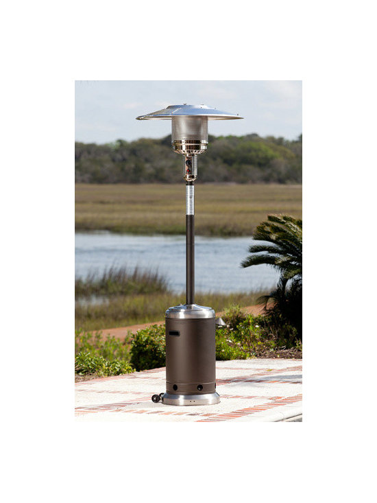 Fire Sense Mocha and Stainless Steel Commercial Patio Heater - The Fire Sense Mocha and Stainless Steel Commercial Patio Heater uses a 20-pound propane tank to produce enough heat to warm areas up to 18 feet in diameter. -Mantels Direct