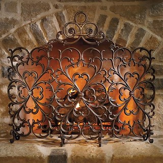 Cast Iron Scrollwork Fireplace Screen Traditional